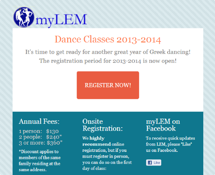 Registration NOW OPEN for 2013 - 2014
